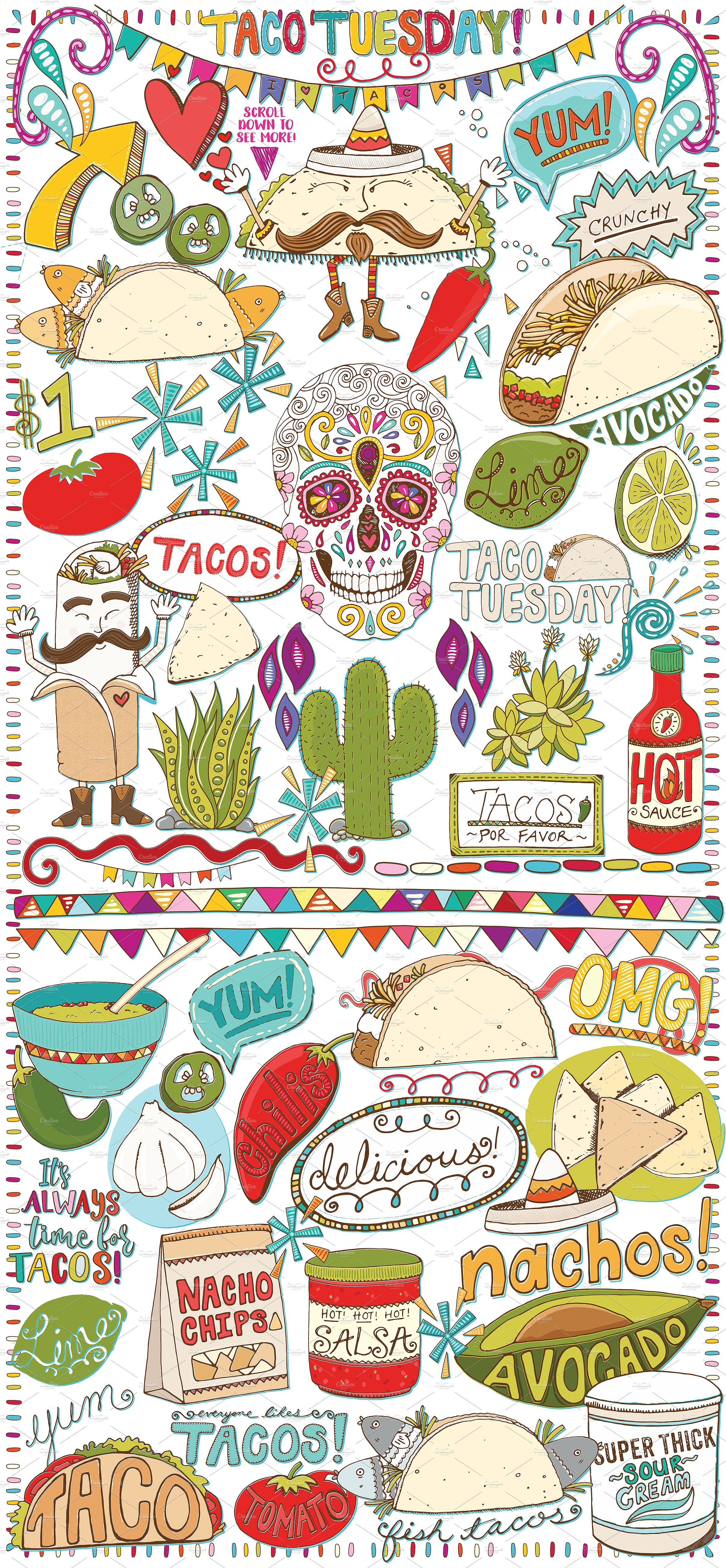 Hispanic food clipart picture black and white library Mexican Food Clip Art -Taco Tues - Illustrations - 2 ... picture black and white library