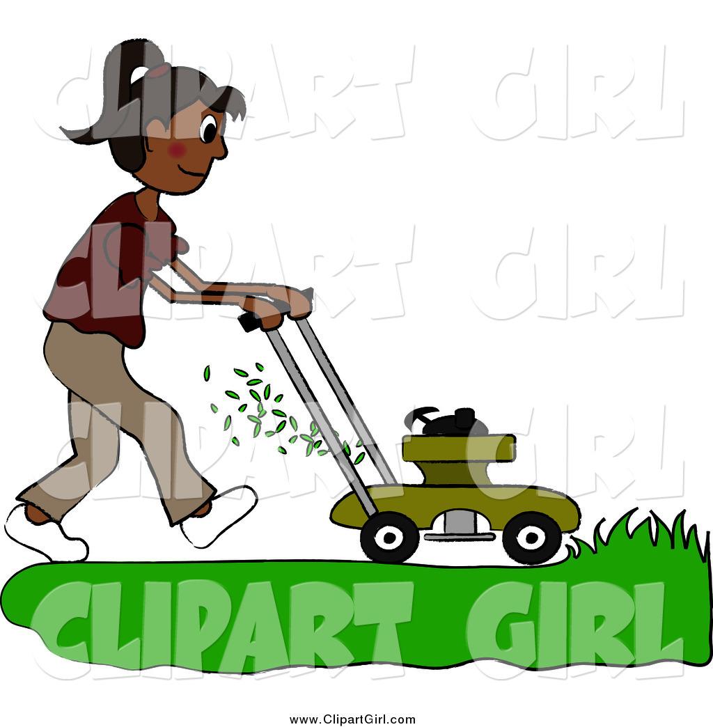 Hispanic woman clipart clip art royalty free download Clip Art of a Hispanic Woman Mowing a Lawn with a Mower by ... clip art royalty free download
