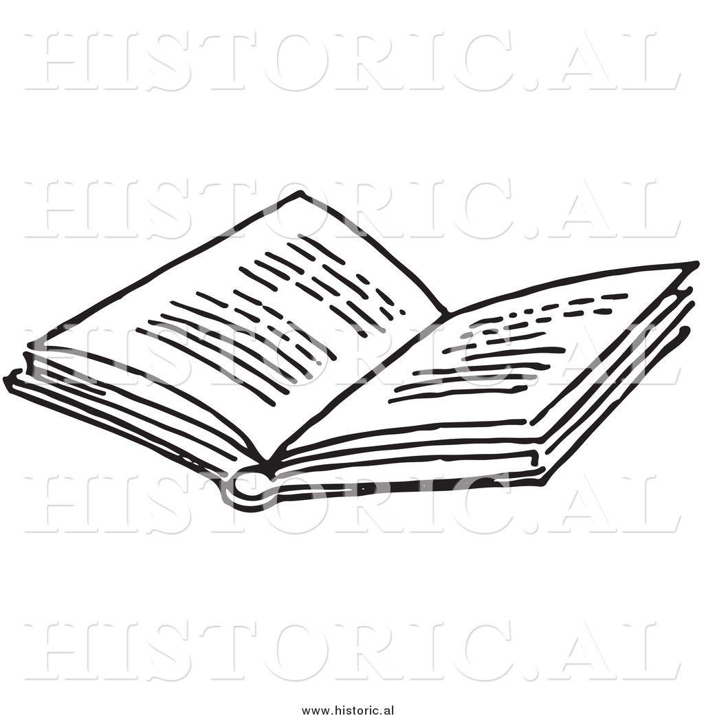 Historic clipart png library stock Historical Clipart of an Opened Book with Text - Black and ... png library stock