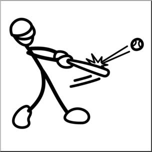 Hit clipart black and white svg library Clip Art: Stick Guy Baseball Hit B&W I abcteach.com | abcteach svg library