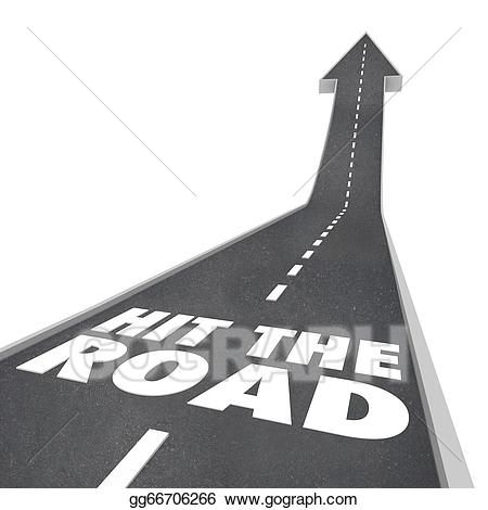 Hit the road clipart graphic black and white stock Stock Illustration - Hit the road start traveling leaving on ... graphic black and white stock