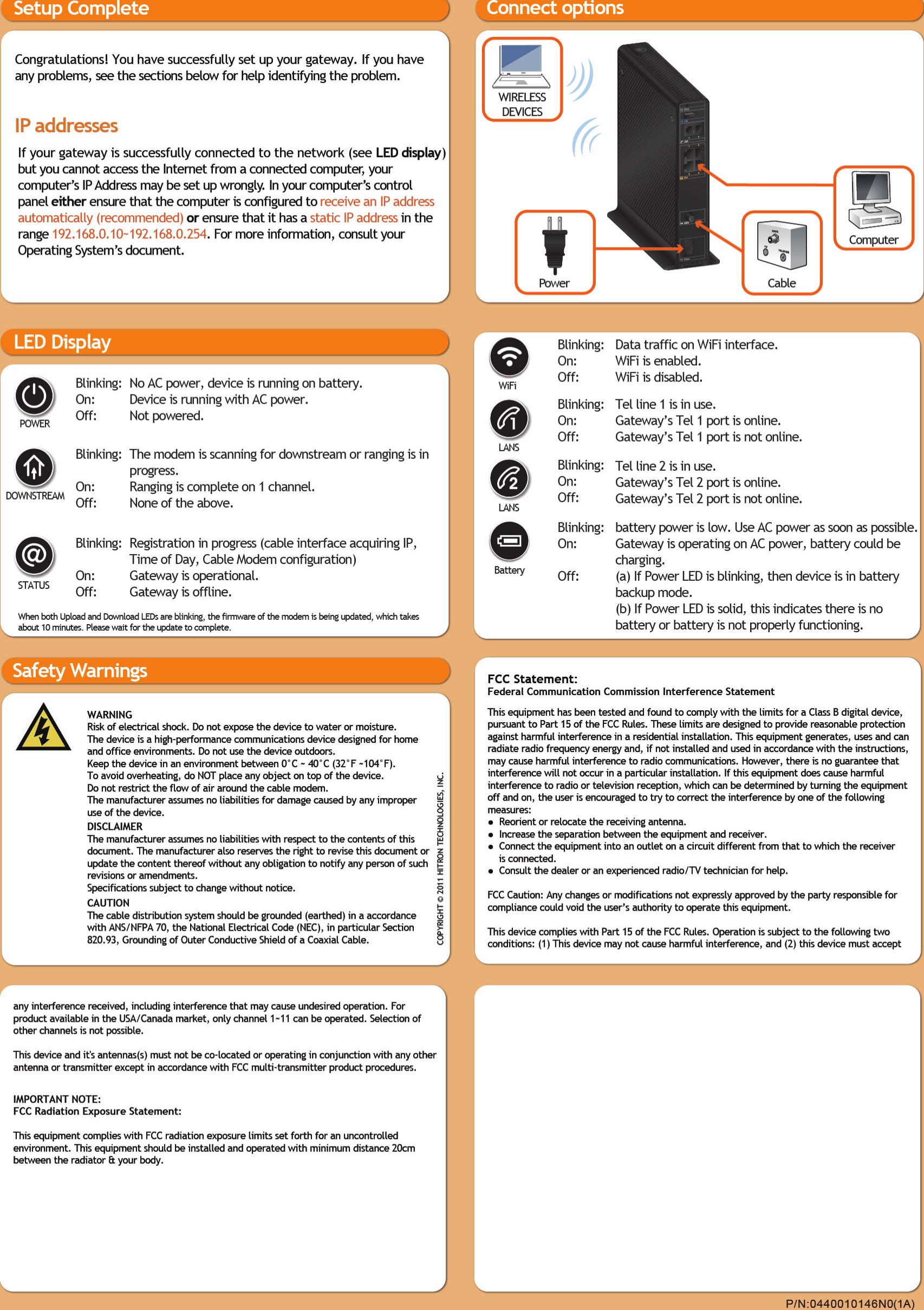 Hitron clipart tv guide clip art CGNV1A Wireless Cable Gateway User Manual Hitron TECHNOLOGIES clip art