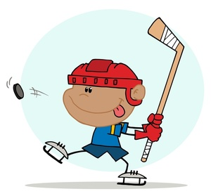 Hits clipart png transparent Little Boy Playing Ice Hockey as Hit Hits the Puck with His ... png transparent