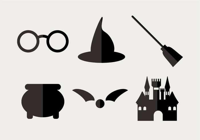 Hogwarts clipart vector banner black and white download Minimal wizard icons set - Download Free Vectors, Clipart ... banner black and white download