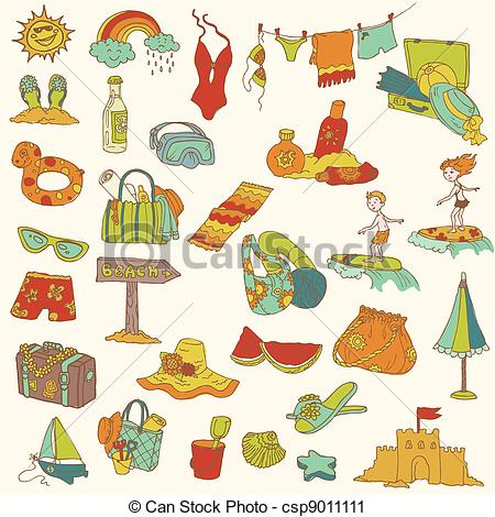 Holiday artwork clipart banner free download Vector Clip Art of Summer holiday doodle collection - hand drawn ... banner free download