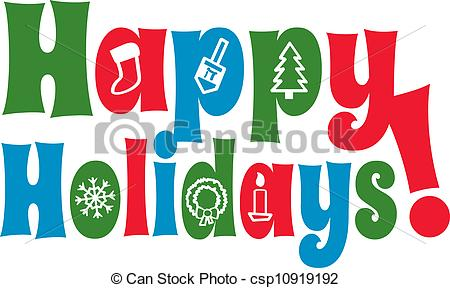 Holiday artwork clipart svg free EPS Vectors of Happy Holidays with Icons - The greeting Happy ... svg free