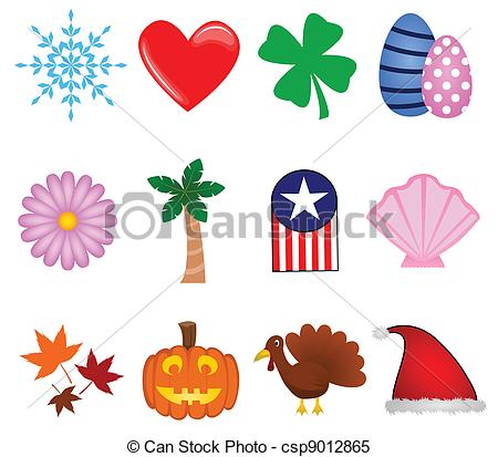 Holiday artwork clipart black and white download Clipart Vector of Holiday Icons - A colorful collection of icons ... black and white download