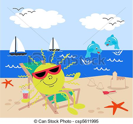Holiday artwork clipart jpg stock Clipart Vector of summer holiday on the beach csp5611995 - Search ... jpg stock