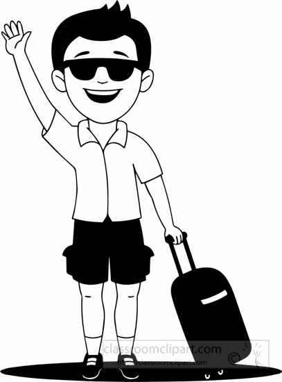 Holiday clipart black and white jpg stock Black White Holiday Man Going On Holiday Clipart – Healing ... jpg stock