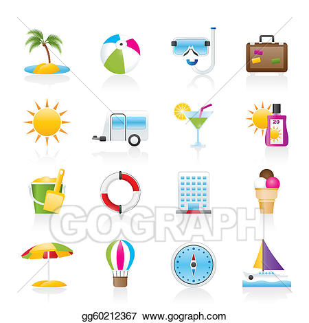 Holiday icons clipart graphic library EPS Illustration - Vacation and holiday icons . Vector ... graphic library