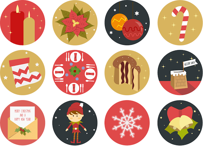 Holiday icons clipart stock Winter- And Holiday-Inspired Icon Sets [Christmas Freebies ... stock