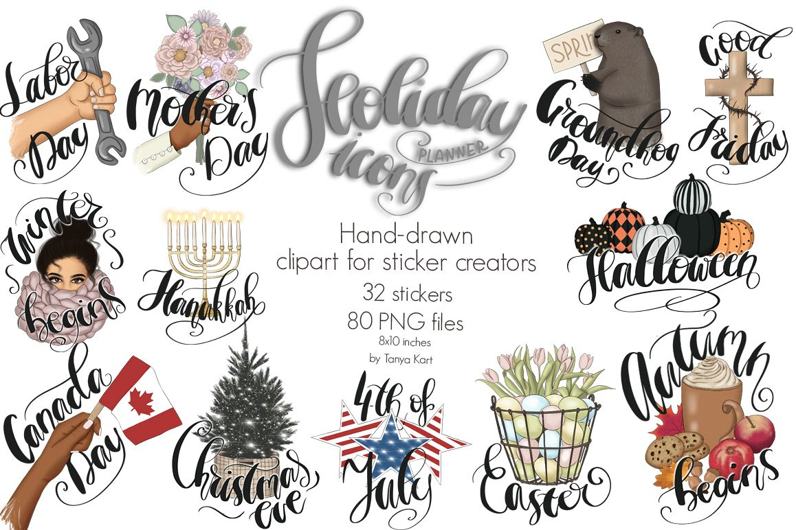 Holiday icons clipart graphic royalty free stock Holiday Planner Icons Clipart Kit graphic royalty free stock