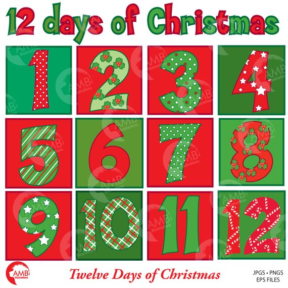 Holiday numbers clipart png transparent stock Christmas Numbers Clipart, Twelve Days of Christmas ... png transparent stock