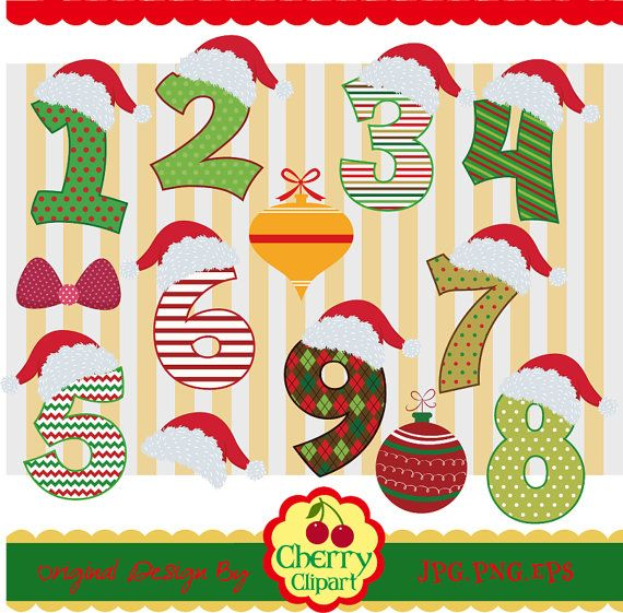 Holiday numbers clipart image royalty free library Christmas Numbers Clip ArtBirthday NumbersHoliday by ... image royalty free library