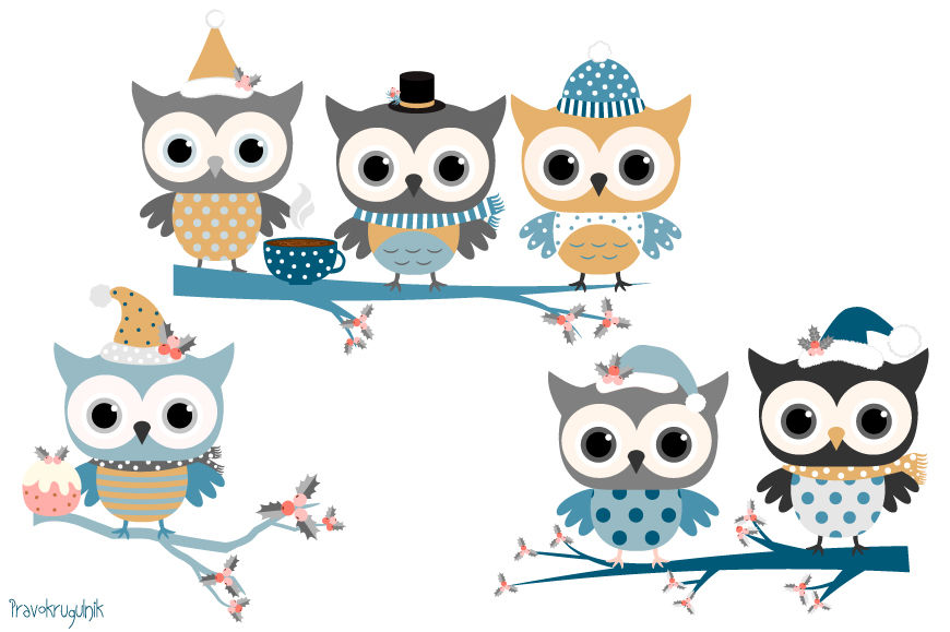 Holiday owl clipart banner free download Winter owls clip art set, Holiday owl in blue colors, Cute ... banner free download
