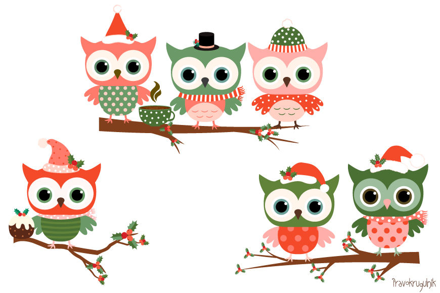 Holiday owl clipart stock Christmas owls clipart set, Cute owl clip art, Winter ... stock