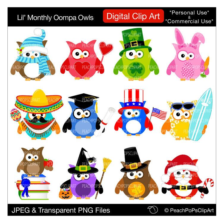Holiday owl clipart png library cute holiday owls clipart digital clipart Christmas Easter ... png library