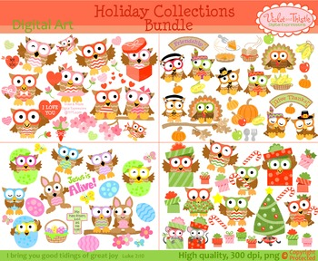 Holiday owl clipart picture transparent stock Holiday Owl Clipart Christmas Valentines Thanksgiving Clip art BUNDLE picture transparent stock