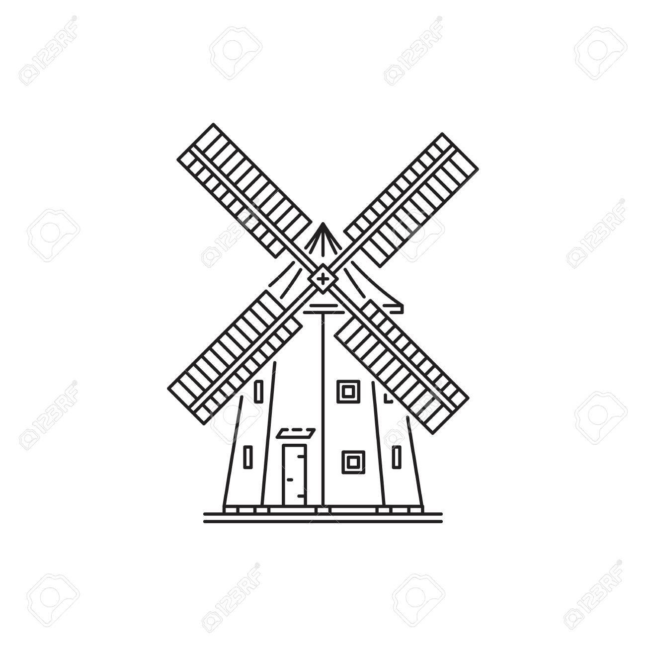 Holland windmill beer clipart jpg library library Dutch Windmill Sketch at PaintingValley.com | Explore ... jpg library library