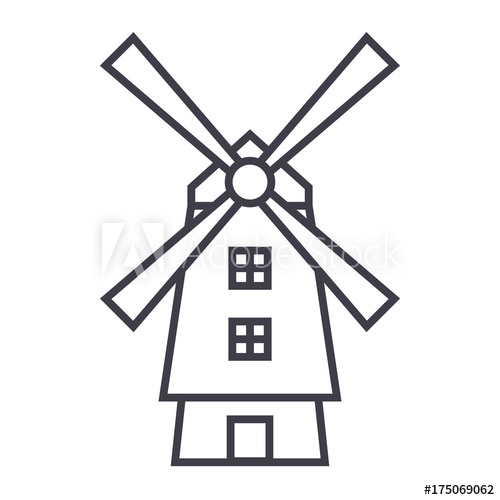 Holland windmill beer clipart clipart library library windmill,holland vector line icon, sign, illustration on ... clipart library library