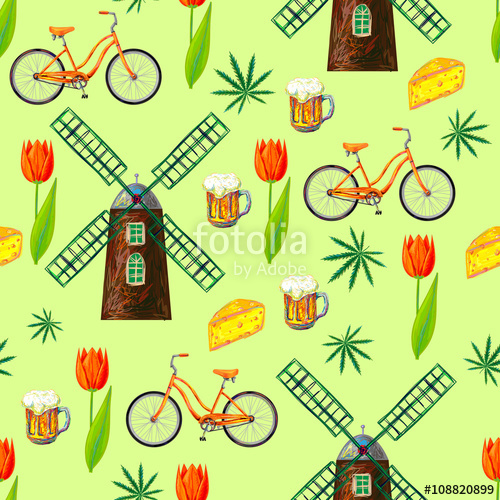Holland windmill beer clipart clip art black and white library Netherlands seamless pattern with windmill, bicycle, cheese ... clip art black and white library