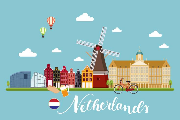 Holland windmill beer clipart vector Netherland Travel Landscape - Download Free Vectors, Clipart ... vector