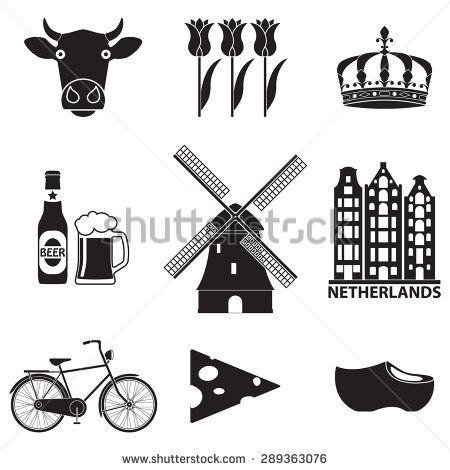 Holland windmill beer clipart clipart freeuse Netherlands icon set isolated on white background. Holland ... clipart freeuse