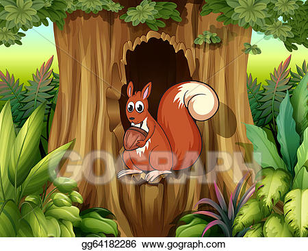 Hollow clipart graphic stock Vector Art - A squirrel in a hollow holding a nut. Clipart ... graphic stock
