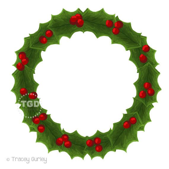 Holly wreath clipart png transparent Holly Wreath Clip Art Hand painted clipart by ... png transparent