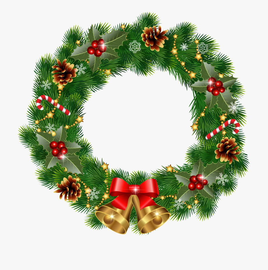 Holly wreath clipart png black and white stock Clip Art Red Christmas Wreath Clipart Free Download - Holly ... png black and white stock