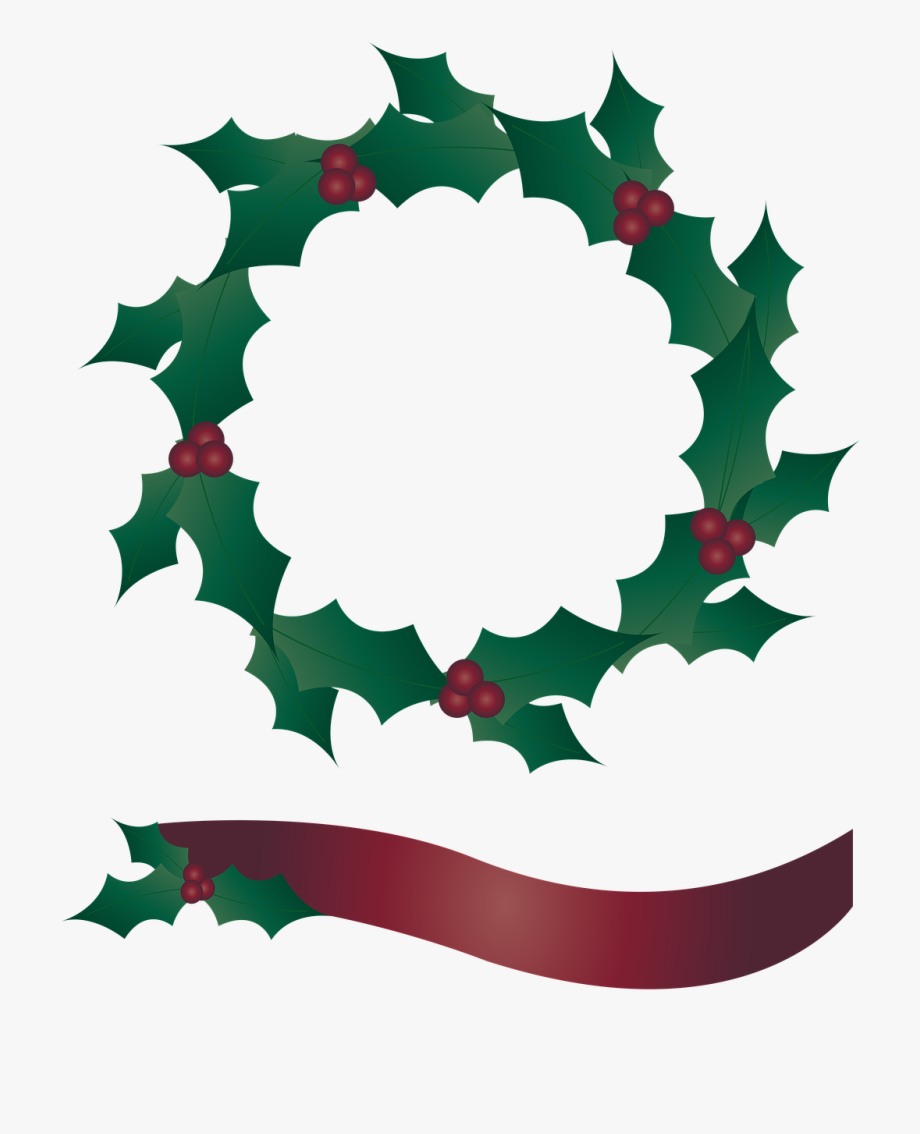 Holly wreath clipart freeuse Holly Wreath, Wreath, Banner, Christmas - Wreath #325237 ... freeuse
