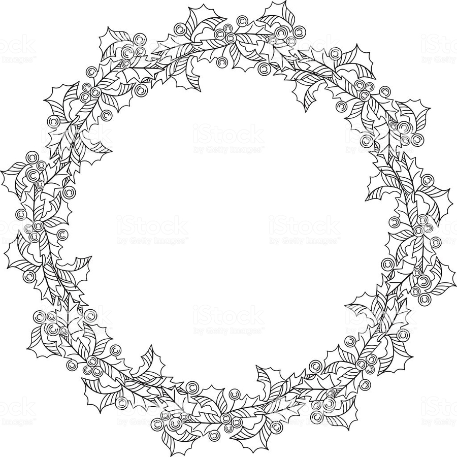 Holly wreath clipart black and white stock Download black white holly wreath clipart Wreath Garland ... black and white stock