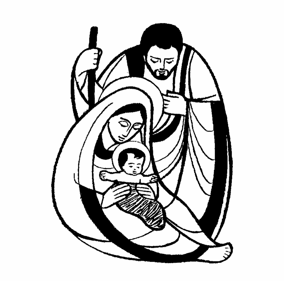 Holy family clipart free vector library library Natal Jesus Png - Holy Family Clipart Black And White ... vector library library