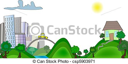 Home away from home clipart black and white Vector Clip Art of home away from cities. abstract vector ... black and white
