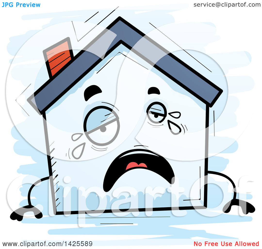Home character clipart clip black and white library Clipart of a Cartoon Doodled Crying Home Character - Royalty Free ... clip black and white library