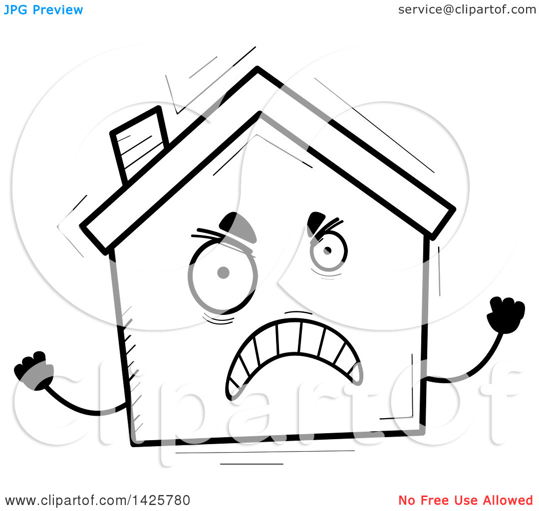 Home character clipart clip free download Clipart of a Cartoon Black and White Doodled Mad Home Character ... clip free download