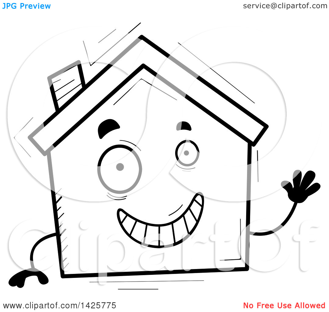Home character clipart svg transparent Clipart of a Cartoon Black and White Doodled Waving Home Character ... svg transparent