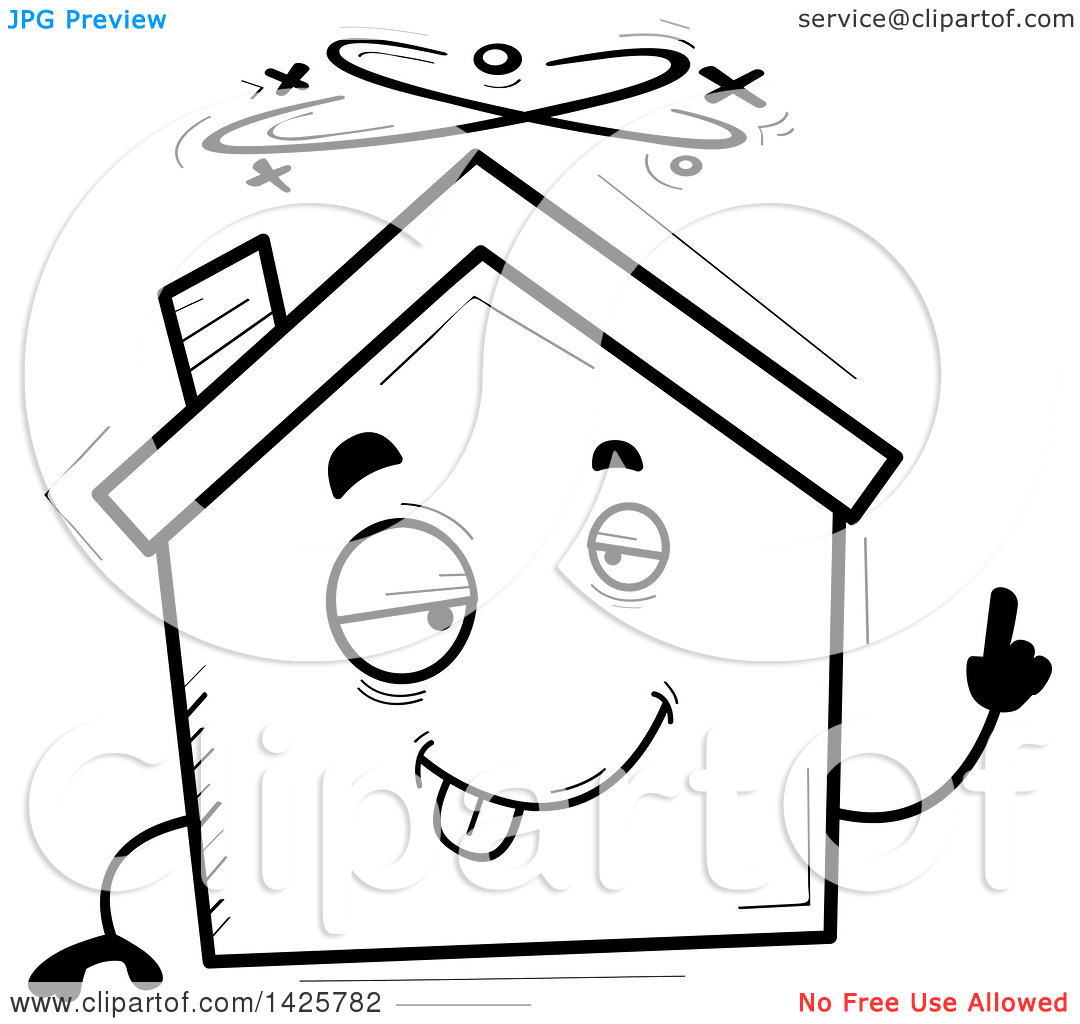 Home character clipart image library library Clipart of a Cartoon Black and White Doodled Drunk Home Character ... image library library