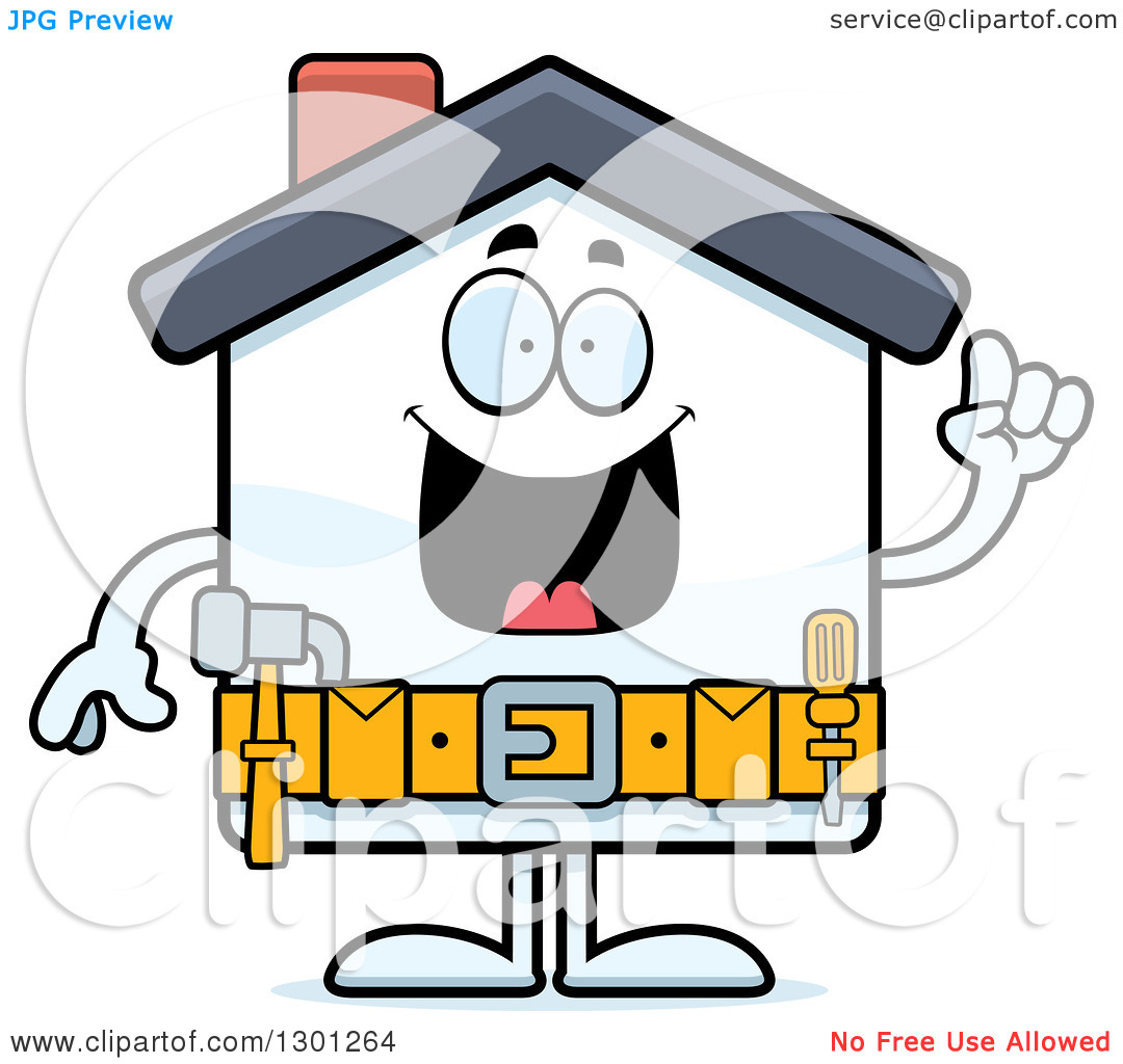 Home character clipart jpg black and white download Clipart of a Cartoon Happy Smart Home Improvement House Character ... jpg black and white download