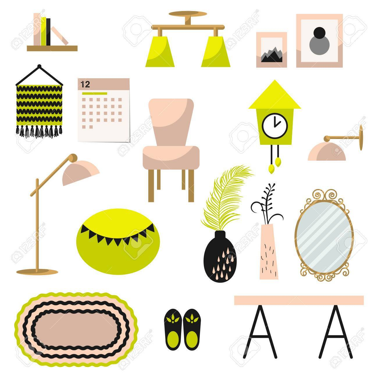 Home decor clipart jpg free stock Home decor and furniture vector set flat style » Clipart Portal jpg free stock
