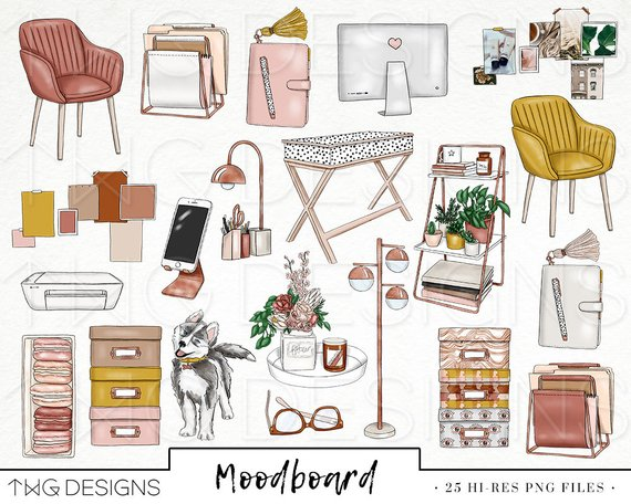 Home decor clipart png freeuse Mood board Fashion Girl Clip Art Watercolor Clipart Office Work ... png freeuse