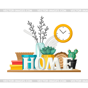 Home decor clipart png library stock Shelf with home decor. Vase, picture and plant - color vector clipart png library stock