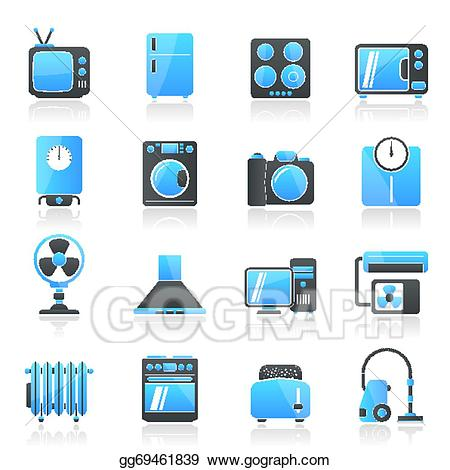 Home electronics clipart vector freeuse download Vector Art - Home appliances and electronics ico. EPS clipart ... vector freeuse download
