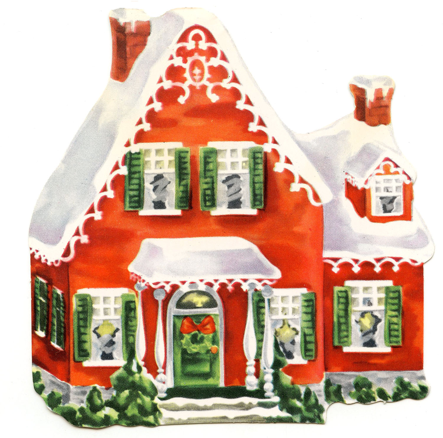 Home for christmas clipart picture download Retro Clip Art - Darling Christmas Cottage - The Graphics Fairy picture download