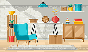 Home decor clipart clipart stock Interior living room. Furniture and home decor - vector clipart clipart stock