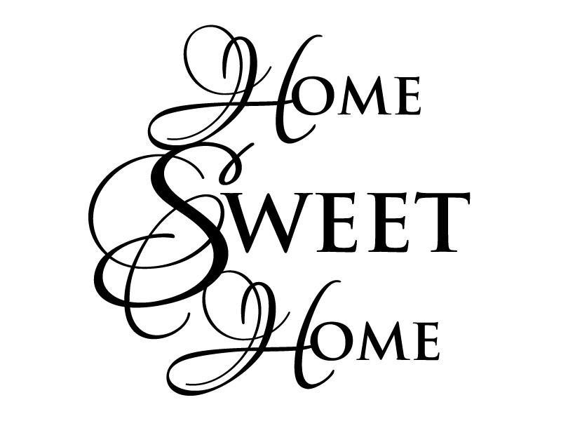 Home sweet home clipart black and white royalty free Home Sweet Home Wall Quote Vinyl Wall Decal #1 Graphics Home Decor royalty free