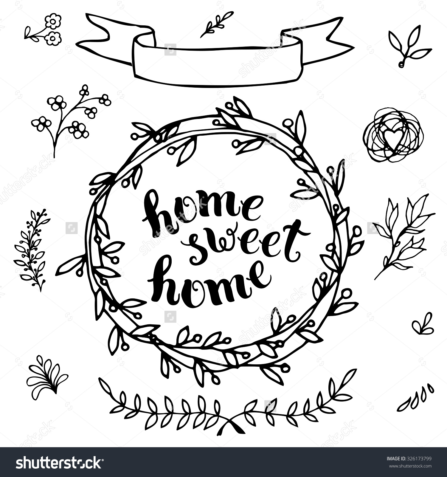 Home sweet home clipart black and white clip royalty free Home Sweet Home Handmade Calligraphy Vector Stock Vector 326173799 ... clip royalty free