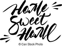 Home sweet home clipart black and white banner library stock Vector of 'home sweet home' hand lettering - handmade calligraphy ... banner library stock