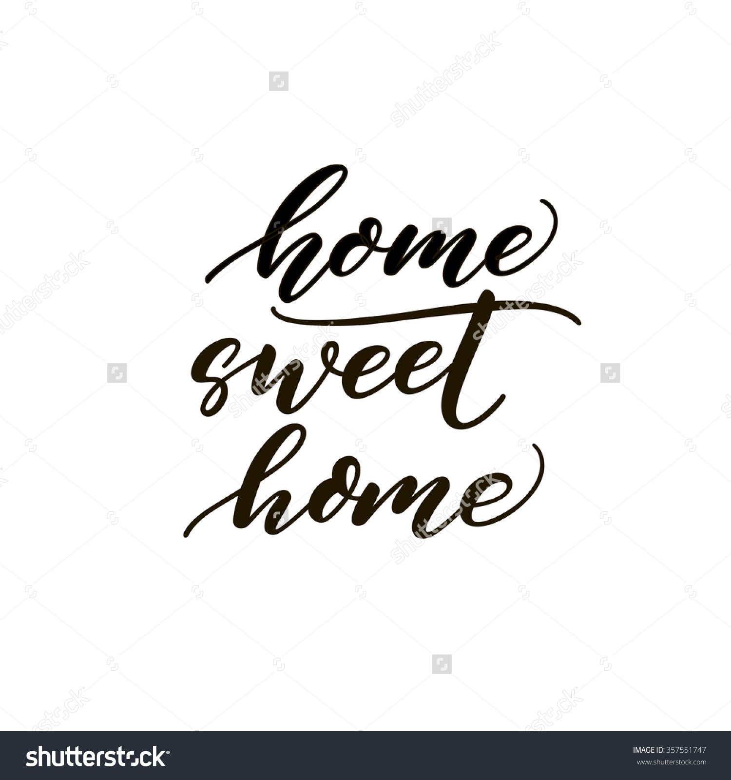 Home sweet home clipart black and white image download Home Sweet Home Card Hand Drawn Stock Vector 357551747 - Shutterstock image download