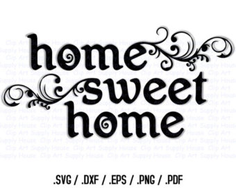 Home sweet home clipart black and white clip freeuse download Home decor clipart - ClipartFest clip freeuse download